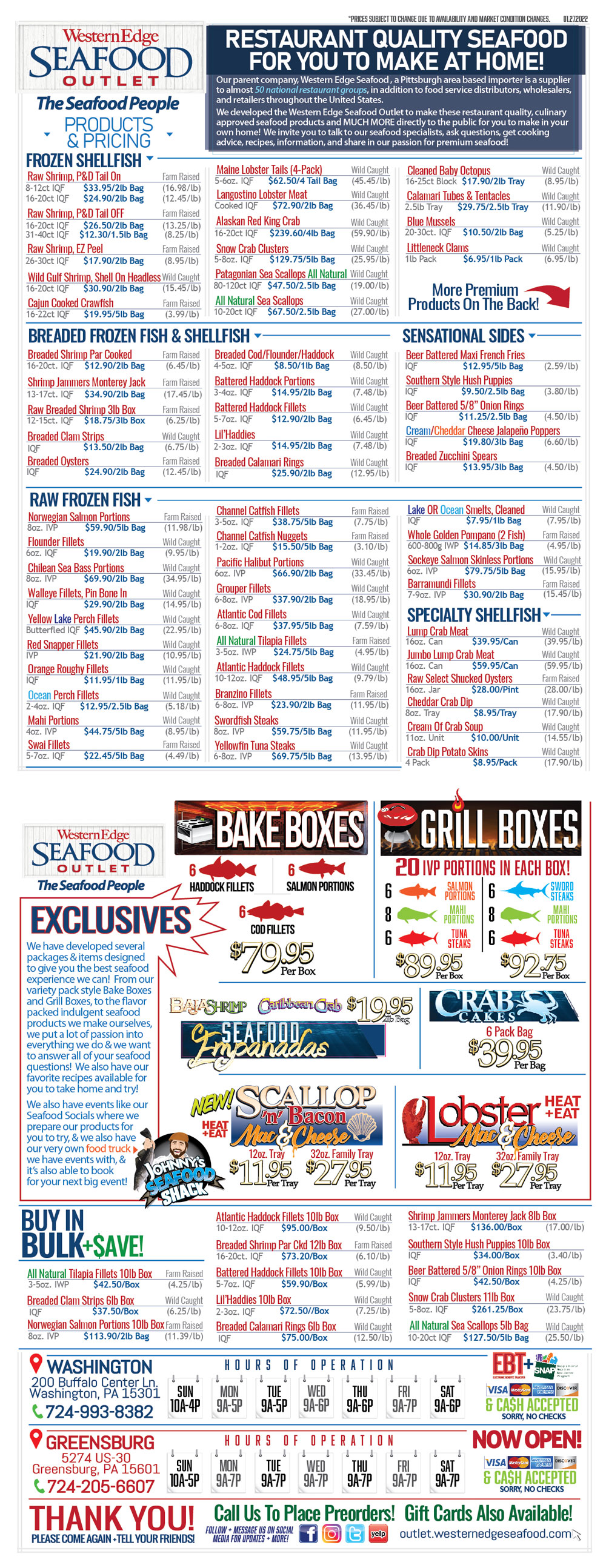Western Edge Seafood Outlet Price List